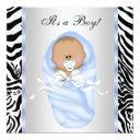 Black Blue Zebra Baby Boy Shower Invitationss