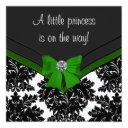Black Damask Green Bow Princess Baby Shower