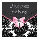 Black Damask Pink Bow Princess Baby Shower Invitation