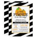 Black Stripes Gold Little Pumpkin Fall Baby Shower Invitation