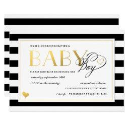 Black & White Stripe Faux Gold Boy Baby Shower