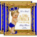 Blonde Prince Baby Shower Blue Faux Gold Invitation