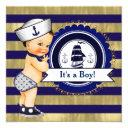 Blue And Gold Nautical Baby Shower Invitation