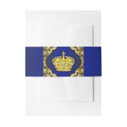 Blue and Gold Prince Baby Shower  Belly Band