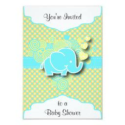 Blue and Yellow Plaid with Baby Elephant