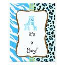 Blue Animal Print Baby Shower Invitation