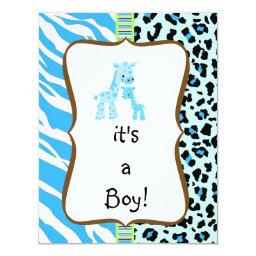 Blue animal print baby shower