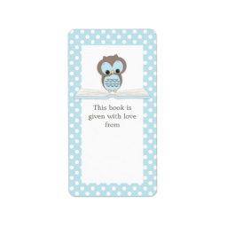Blue Baby Owl on Book Gift Bookplate Label