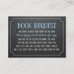 Blue Baby Shower Book Request, Bring a Book Enclosure
