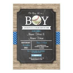Blue Baseball  Boy Sports Wood Invite