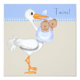 Blue Beige Gingham Stork Twin Boy