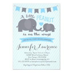 Blue Boy Peanut Elephant Baby Shower Invitations