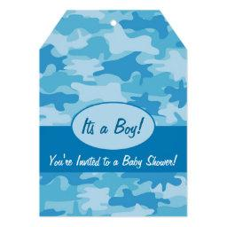 Blue Camo Camouflage Boy Baby Shower