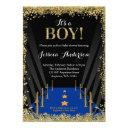 Blue Carpet Hollywood Faux Glitter Boy Baby Shower Invitation