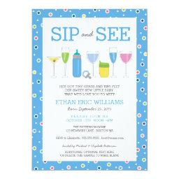 Blue Cocktail New Baby Boy Sip And See Invitations