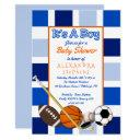 Blue Color Block Sports It's A Boy Baby Shower