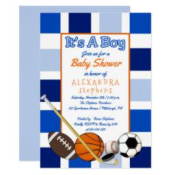 Blue Color Block Sports It's A Boy Baby Shower Invitations