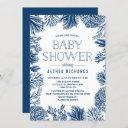 Blue Corals Frame Summer Baby Showerd Invitation