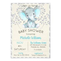 Elephant baby shower invitations babyshowerinvitations4u blue baby shower boy filmwisefo Images