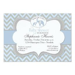 Blue Elephant Chevron Baby Shower
