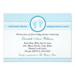 Blue Feet Baby Boy Shower  Polka Dots