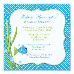 Fishing baby shower invitations babyshowerinvitations4u blue fish filmwisefo Image collections