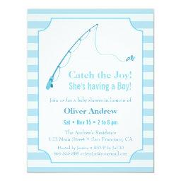 Blue Fishing Themed Baby Shower Invitationss
