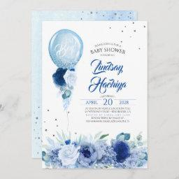 Blue Floral Silver Glitter Balloon Baby Shower Invitation