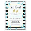 Blue Footprints Black & Gold Twins Baby Shower