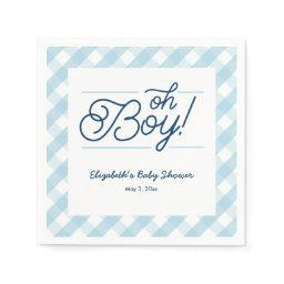 "Blue Gingham ""oh Boy"" Baby Shower Napkins"