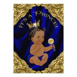 Blue Gold African American Prince Baby Shower