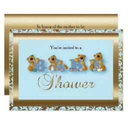 Blue & Gold Damask With Teddy Bear | Baby Shower Invitations