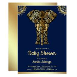 Blue Gold Elephant Indian Baby Shower Invitation