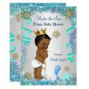 Blue Gold Under The Sea Prince Baby Shower Ethnic Invitations