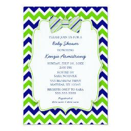 Blue Green Bow Tie Boy Baby Shower Invites