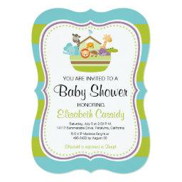 Blue Green, Bracket Noah's Ark Baby Shower Invite. Invitation