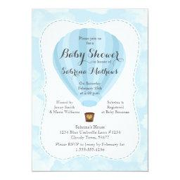 Hot air balloon baby shower invitations babyshowerinvitations4u blue hot air balloon boy filmwisefo