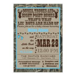 Blue Hunting Camo Baby Boy Shower Invitations