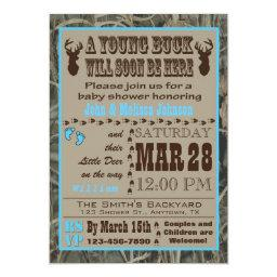 Blue Hunting Camo Baby Shower Invitationss