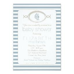 Blue Nautical Tropical Fish Striped Baby Shower