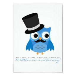Blue Owl with Mustache Baby Shower
