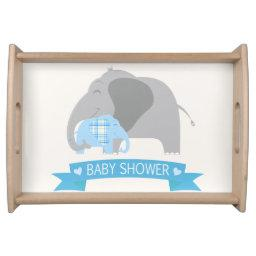 Blue Plaid Baby Elephant Baby Shower Serving Tray