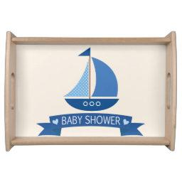 Blue Sailboat, Nautical  Serving Tray