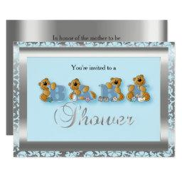 Blue & Silver Damask with Teddy Bear | Baby Shower