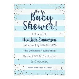 Blue Stripes & Glitter Baby Boy Shower Invitation