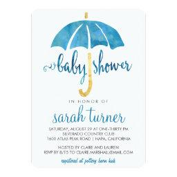 Blue Umbrella Boy Baby Shower