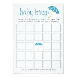 Blue Umbrellas Baby Shower Bingo Game