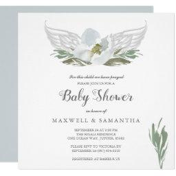 Blue Watercolor Florals Angel Wings Baby Shower