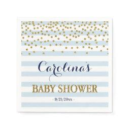 Blue White Gold Stripe Confetti Baby Boy Shower Napkin