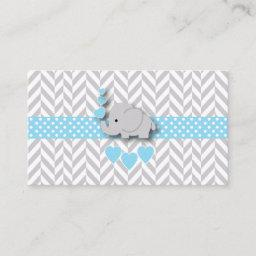 Blue White Gray Elephant Baby Shower Book Request Enclosure